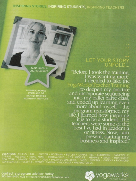 Ad in Yoga Journal February 2009 issue #217